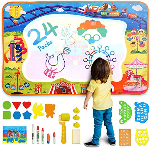 AOLUXLM Baby Spielzeug Aqua Magic Doodle Matte, Wasser Doodle Malmatte mit Einzigartige Magische Wasser Buch & Werkzeuge Rolle Stempel & Anderes Zubehör 100 * 70cm