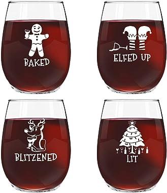 Juego de 4 copas de vino divertidas con diseño de Navidad para fiestas navideñas, 4 diseños, 17 onzas, ideal para intercambio