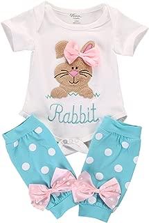 2Pcs/Set Newborn Infant Baby Girl Easter Outfit Bunny Romper+ Polka Dot Leg Warmers