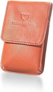 Portasigarette Slim Arancione in Vera Pelle Custodia per Pacchetto di Sigarette Sottili