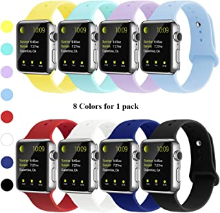 YUNSHU Compatible iWatch Band Replacement iWatch Band 38mm 40mm 42mm 44mm for Women and Man Soft Sports Band Strap Silicone Series 5 Series 4 Series 3 Series 2 Series 1 S/M M/L-Pack