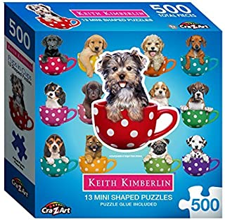 Pups in Cups 1 : A Collection of 13 Mini Shaped Puzzles Totaling 500 color coded pieces Exclusive Keith Kimberlin Editions