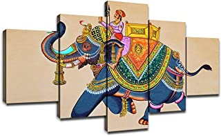 Canvas Wall Art Traditional Indian Elephant Painting Modern Artwork Picture for Wall Living Room Decor Rajasthani Wall Painting Elephant with Jockey Poster Prints Frame Decoration(60''Wx32''H)