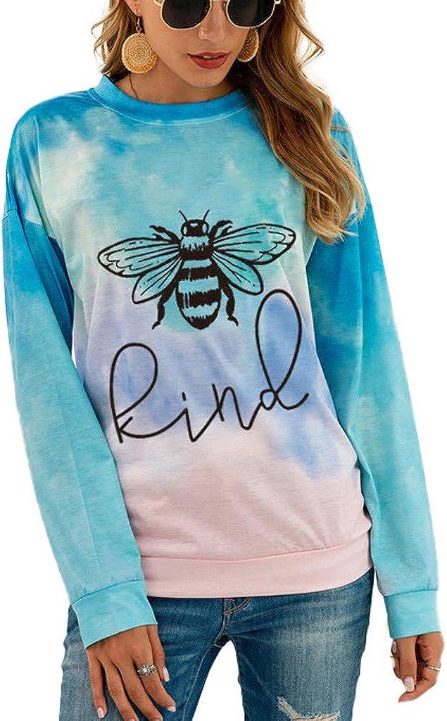 Forwelly Womens Bee Kind Graphic Sweatshirt Crewneck Long Sleeve Tie Dye Print Top Casual Loose Shirt