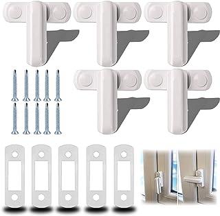 behone 5 stuks T-venster slot, raamvergrendeling wit zinklegering veiligheidsslot, extra sjerp stoorzenderdeur T-vorm, sje...
