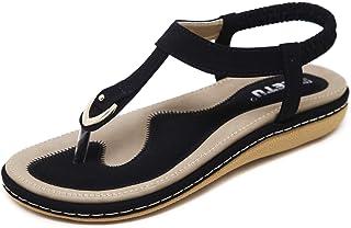 JIANKE Sandales Femme Plates Été BohèmeSandales Confortables Chaussures pour Plage Vacances