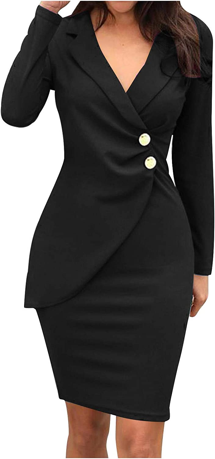 SHOPESSA Formal Dresses for Business Casual Women Turn Down Neck Midi Pencil Dress Suiting Dress
