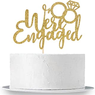 INNORU We're Engaged Cake Topper, Gold Glitter Engagement Cake Decoration