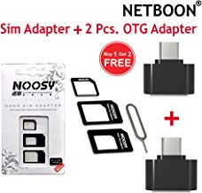 NETBOON 2 Pcs OTG Adapter with 4 in 1 Sim Card Adapter with Eject Pin for All Mobiles and iPads