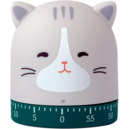 DEYNIYSTY Kitchen Craft Mechanical Wind Up 60 Minutes Timer 360 Degree Rotating Cute Animals Time Timer for Children, Baking and Boiling Egg (CAT)