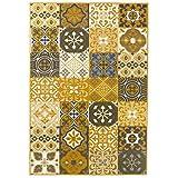 Debonsol - Tapis Salon Patchwork Carreaux Ciment Jaune Moutarde 200x290cm