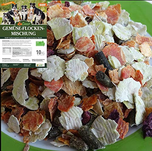 LuCano 10 kg Hunde Barf Ergänzungsfutter Gemüse Flocken Mischung mit Kräutern | glutenfrei - getreidefrei | Barfen für Hunde | Gemüse Mix | Gemüseflocken