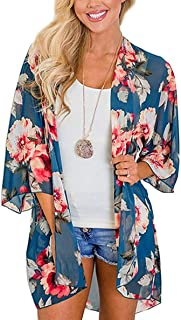 Women's Floral Print Short Sleeve Shawl Chiffon Kimono Cardigan Casual Blouse Tops