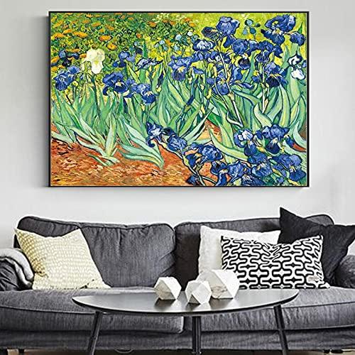 Van Gogh Irises Pinturas en lienzo Arte de la pared Carteles e impresiones Obras de arte famosas de Van Gogh Imágenes para la decoración de la sala de estar 80x120cm (31.5x47.2in) Sin marco