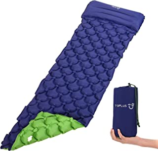 TOPLUS Campingmatta uppblåsbar madrass sova med kudde, campingmatta vattentät tjock bekväm, 190 x 59 x 6 cm