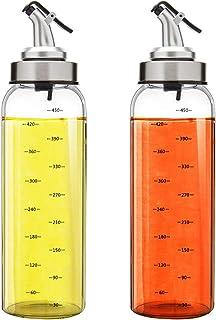 Marbrasse 2 Pack Olive Oil Dispenser Bottle, 17 Oz Vinegar Dispensing Cruets With Dripless Capped Spout, No Drip,Liquid Co...