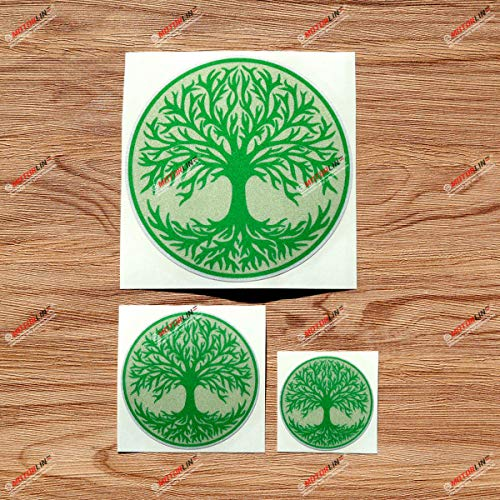Yggdrasil Tree of Life Celtic Symbol Green Round Vinyl Decal Sticker - 3 Pack Reflective, 2 Inches, 3 Inches, 5 Inches - for Car Boat Laptop Cup Phone