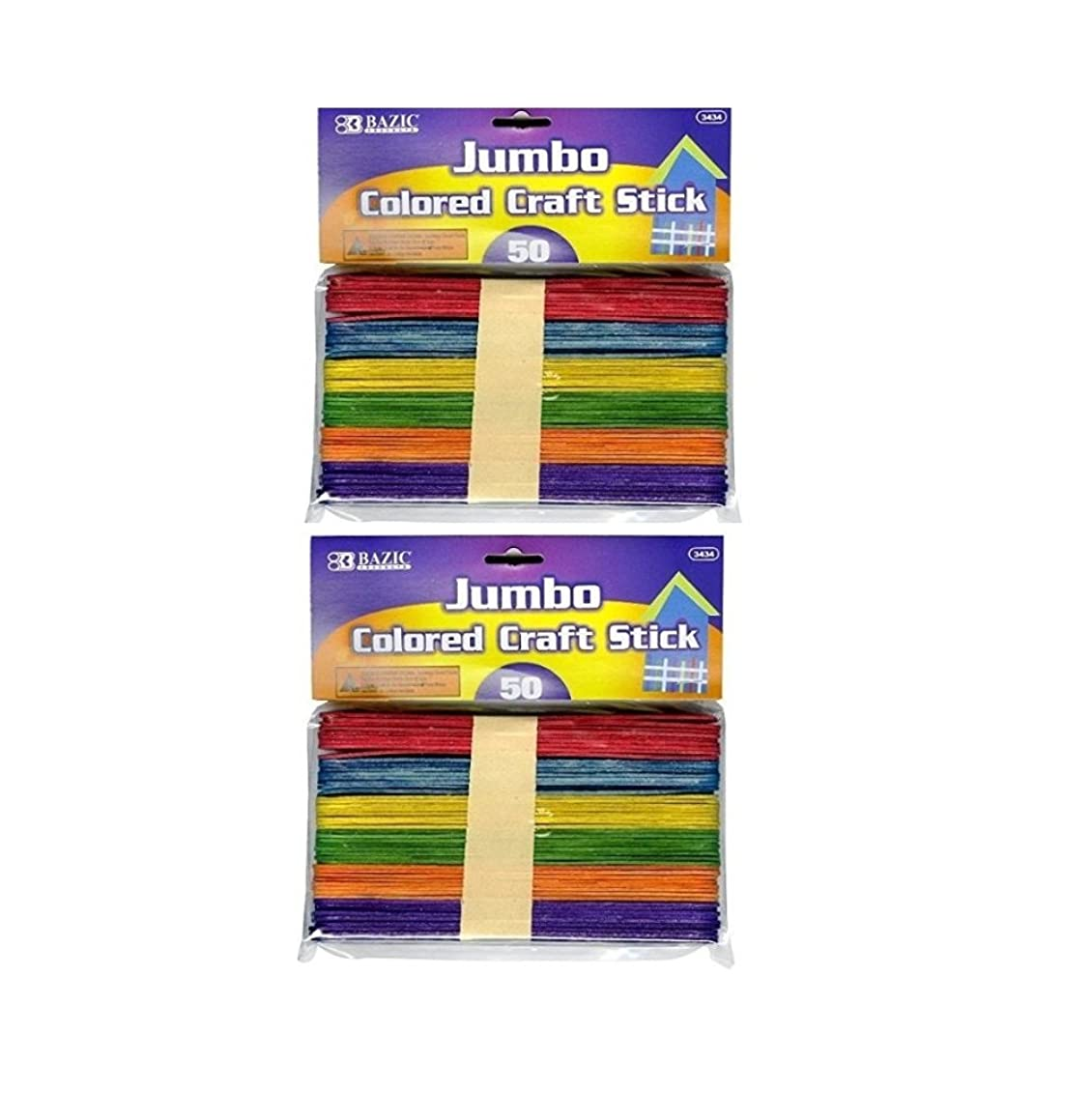 BAZIC 3434-2PK Jumbo Colored Craft Stick, Assorted, 2, 50 Per Pack, Totals 100, Natural