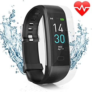 IP68 Waterproof Fitness Tracker Topmall1 Color Screen Activity Tracker Watch with Heart Rate Monitor IP67 Waterproof Smart Bracelet Calorie Counter Pedometer Watch for Women Men(Black&Silver)