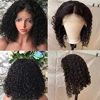 13x4 Hand made Lace Frontal Curly Human Hair Wig for Women 8 Inch, Jerry Curls Natural Black Color Wig for African American Replacement Wig Natural Hairline(13x4 Lace Front Wig, Natural Color)
