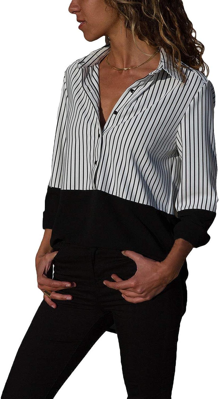Ouregrace Womens V Neck Color Block Stripes Button Down Blouses Tops S-XXL