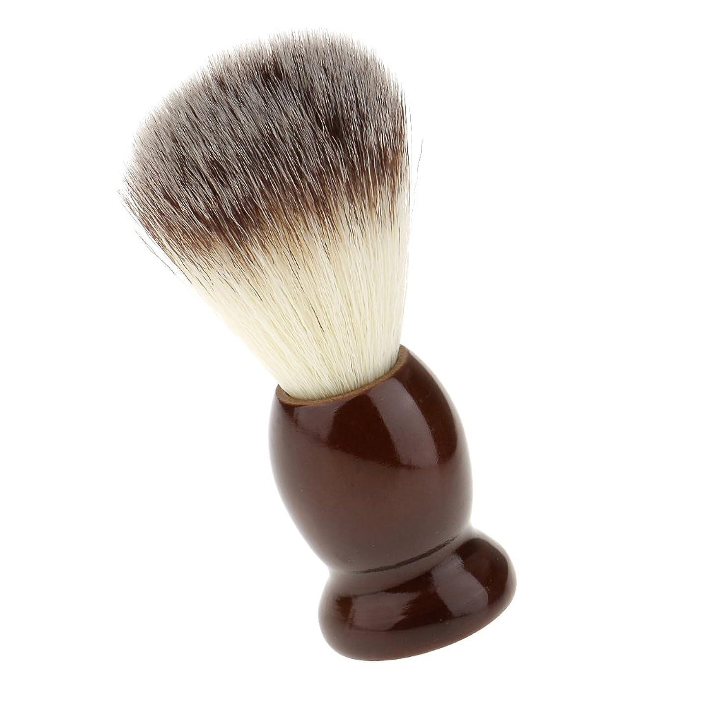 漏斗ソーシャル用心するSONONIA ナイロン製 シェービングブラシ サロン 柔らかい 髭剃り 洗顔 理容   便携 10.5cm  ブラウン
