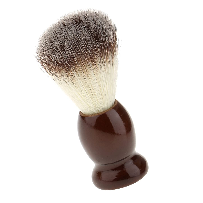 ペグ代表して市の中心部SONONIA ナイロン製 シェービングブラシ サロン 柔らかい 髭剃り 洗顔 理容   便携 10.5cm  ブラウン