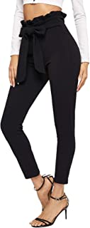 Women's Stretchy Workwear Office Skinny Pants with Belt