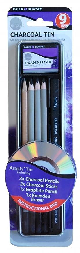 Daler Rowney Simply Pencil Charcoal Tin Set (9 Pieces)
