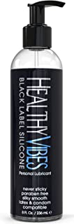 Premium Silicone Sex Lubricant by Healthy Vibes, 8 Oz Longest Lasting Personal Lube [Sensitive Skin on Women, Men, and Cou...
