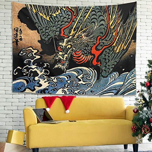 Tapiz de pared vintage japonés, dragón azul marino estampado Ukiyoe toallas de playa blancas 100 x 150 cm