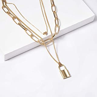 3 Multi Layer Boho Long Necklace with Locks And Heart Bar Pendant for Women Chic Fashion Gift (Silver/Glod),Gold