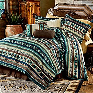 Southwest Turquoise Green Native American King Comforter, 2 Shams, 3 Decorative Pillows, 1 Bedskirt + Home Style Sleep Mask Southwestern Lodge Cabin (King)
