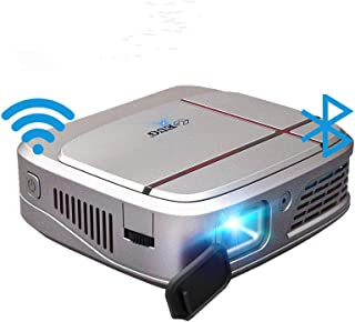 Mini Portable WiFi DLP Projector with Bluetooth Battery, Android 7.1 Smart Wireless Pocket LED Projector 3300 Lumens Suppo...