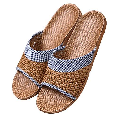 Pantofole Ciabatte Scarpe Pattini Tessuti di Erba in Rattan Uomini E Donne Estivi Amanti Adorabili Nuovo Anti-Skid Traspirante Tingting (Colore : Blu, Dimensioni : 44/45)