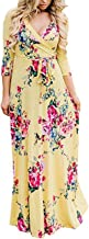 YUMDO Women's V Neck 3/4 Sleeve Floral Print Faux Wrap Long Maxi Dress Belt