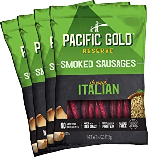 Pacific Gold Reserve Sweet Italian Smoked Sausages, 4 Ounce (Pack of 4)