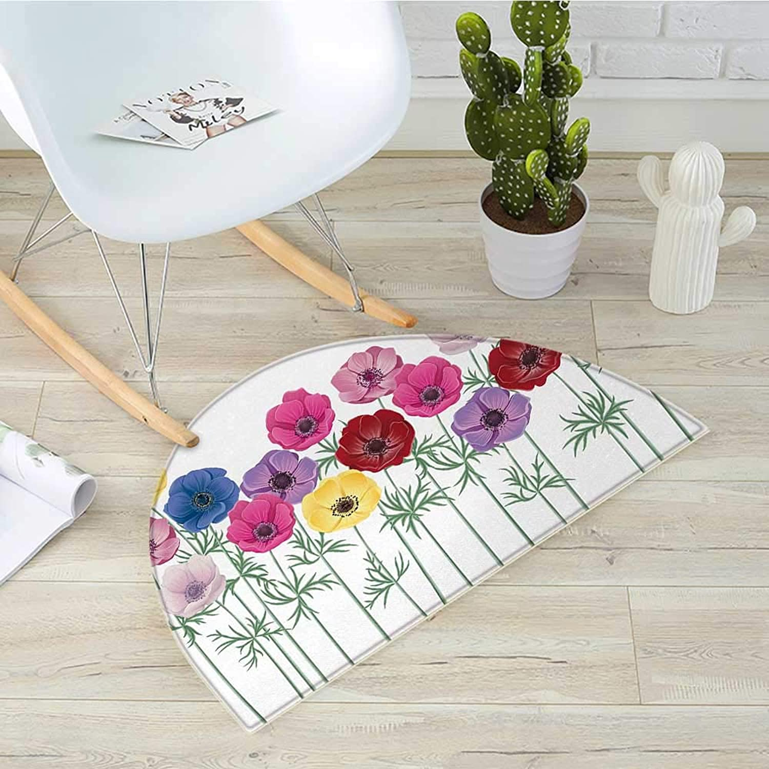 Anemone Flower Half Round Door mats Group of Graphic colorful Flowers on Branches Blooming Field in Summer Theme Bathroom Mat H 31.5  xD 47.2  Multicolor