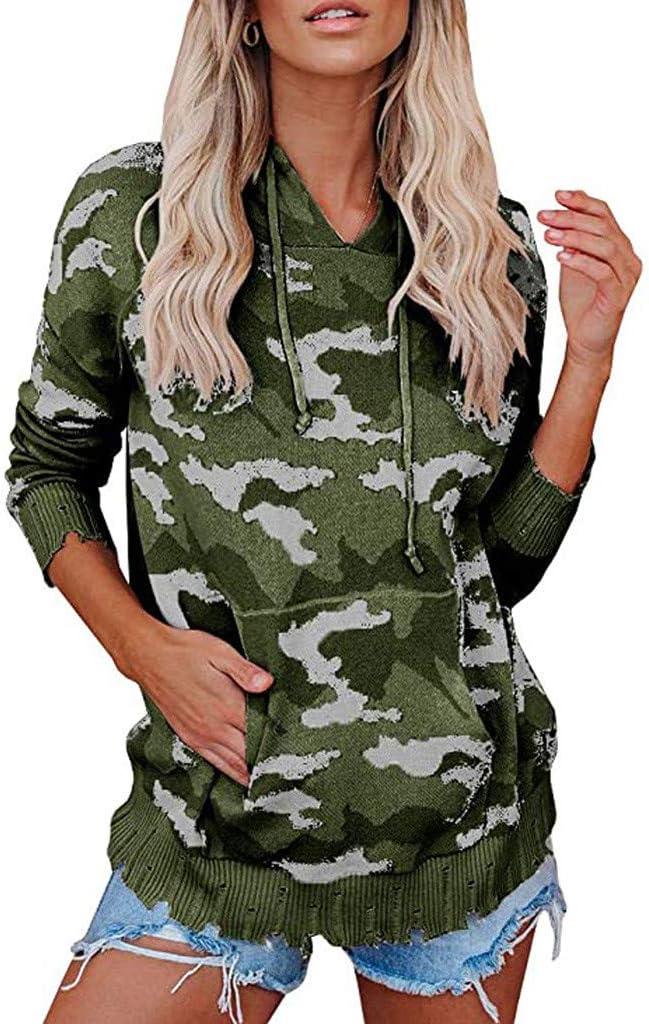 Kaifongfu Women's Camouflage Hoodie Tops Long Loose trend rank Albuquerque Mall Sweatshirts