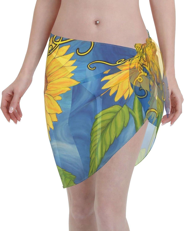 Reindeer Horn Women Short Welcome Sunflower On Blue Sarongs Cover Ups Beach Chiffon Sarong Bikini Swimwear