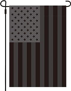 Huanranyx All Black American Garden Flag - Black USA Flag Outdoor Yard Decor - 12 x 18 Inches Double Side Polyester Garden Flag