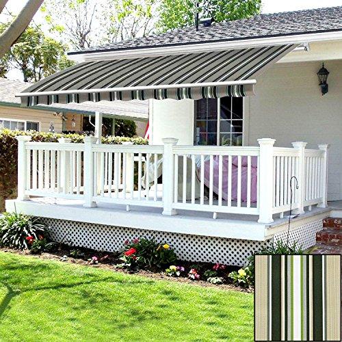 Greenbay 3.5 x 2.5m DIY Patio Retractable Manual Awning Garden Sun Shade Canopy Gazebo Multi-Stripe with Fittings and Crank Handle