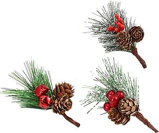 EXCEART 15ピース人工クリスマスピックジングルベル赤い果実と松ぼっくりフラワーアレンジメントクリスマスツリー用人工松葉