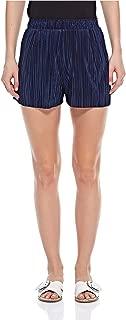 Bershka Pleated Shorts For Women - Dark Blue, X-Small
