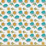 ABAKUHAUS Kites Stoff als Meterware, Sonne und Wolken mit