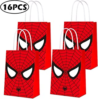 Party Bags for Spiderman Gift Bags Kids Boys Superhero Themed Birthday Party Decorations Gift Goody Treat Candy Bags for Super Hero Birthday Party Supplies- 16 PCS