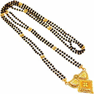 Mangalsutra One Two Gram Gold Plated Handmade Design Black Polki Real Look Jewelry Set 7330
