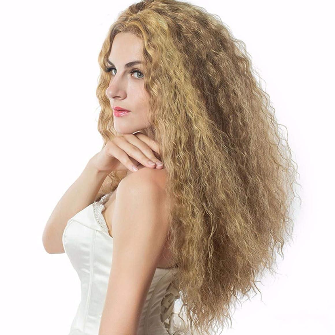 検出する乏しいモード女性かつら180%密度レースフロントかつら変態カーリーウェーブブラジルのかつらプレ摘み取られたremy髪天然生え際ゴールド56 cm