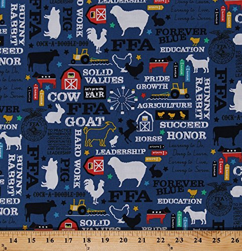 Cotton FFA Future Farmers of America Forever Blue Quotes Motto Agricultural Education Farming Farm Animals Barns Tractors Blue Cotton Fabric Print by The Yard (C7210-BLUE) Georgia