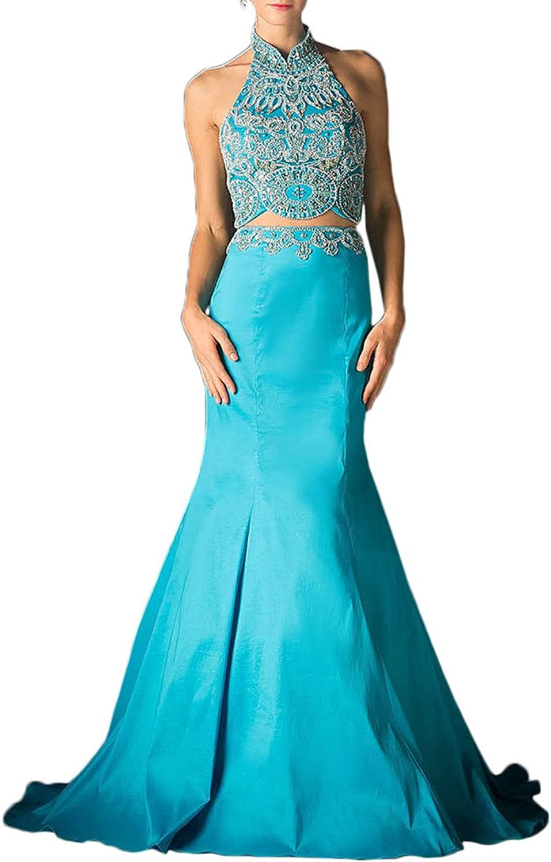 Avril Dress TwoPiece Halter Beading Taffeta Mermaid Prom Evening Dress Court